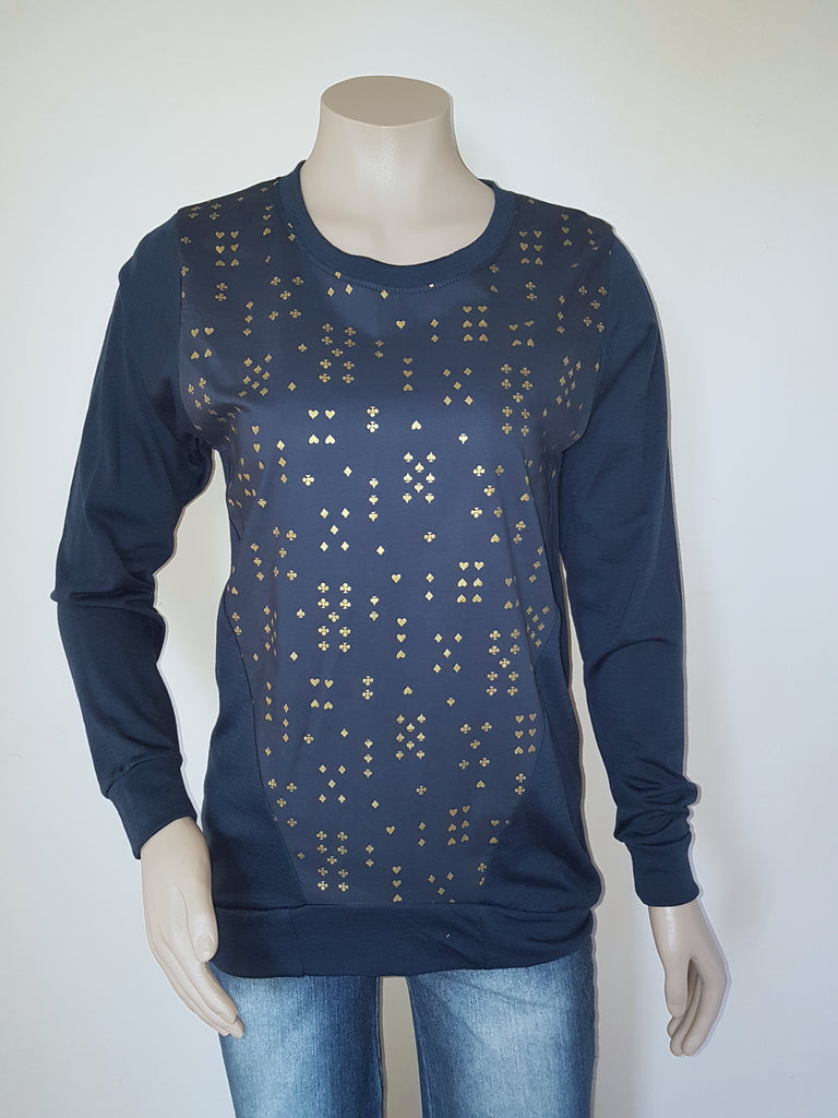Navy Merino with metallic gold print Jumper