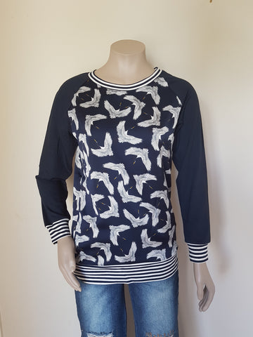 Navy  Crepe Bird Top