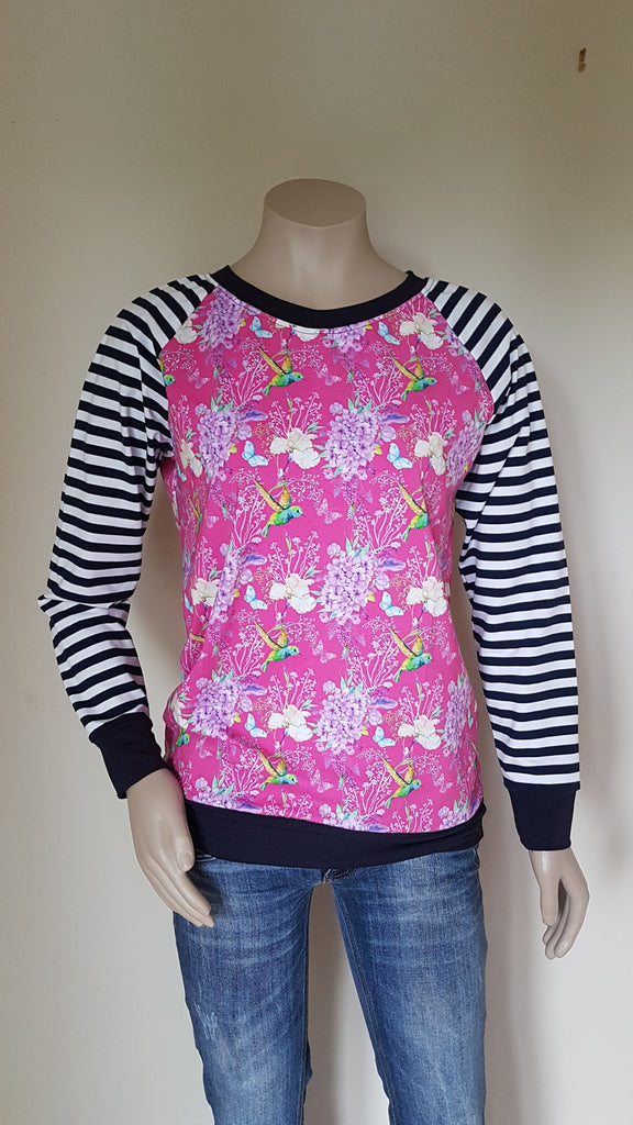 Pink Bird with Blue & White Stripe Sweatshirt