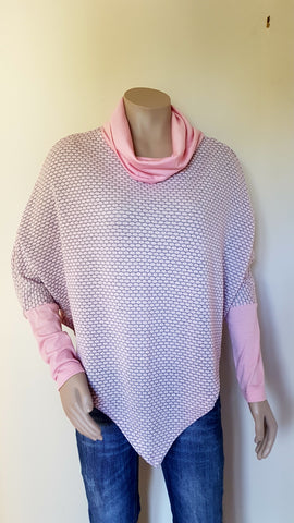 100%  Merino Pink & Grey Poncho With Sleeve