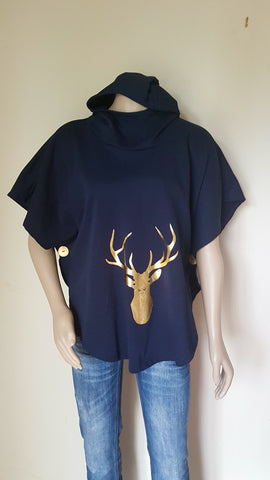 Navy Stag Print Hooded Sweatshirt Poncho - Cotton