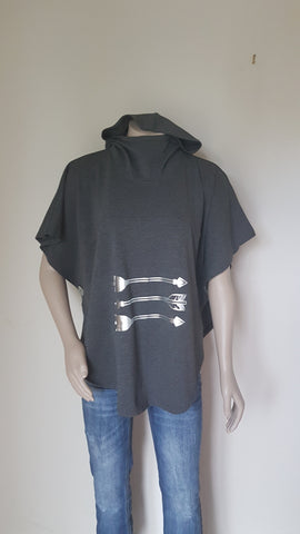 Charcoal Arrow Print Hooded  Sweatshirt Poncho - Cotton