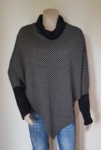 100%  Merino Black & Grey Poncho With Sleeve