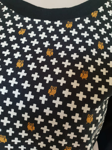 Black Merino Gold Owl Cross Print Jumper