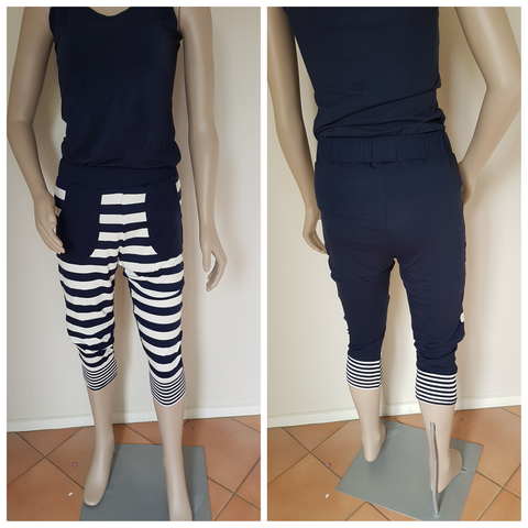 3/4  Navy Stripe Pants