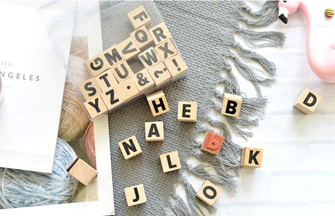 LOVEDOKI Wooden Alphabets Stamps