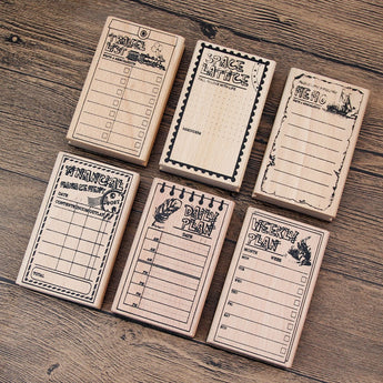 Daily, Weekly, Financial, Space Lattice, Memo, Travel List Wooden Stamps