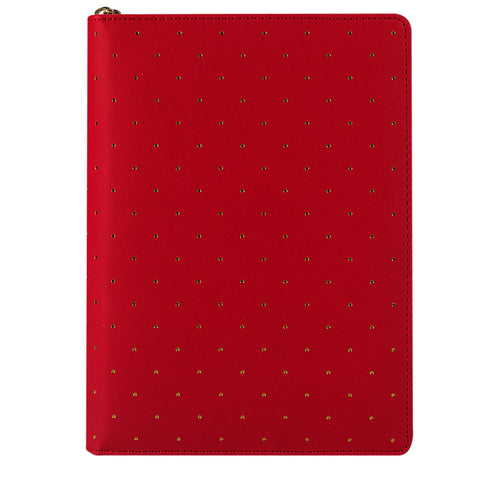 Red Gold Dotted Zippy Planner