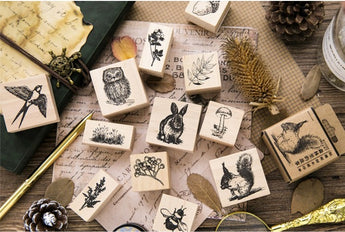 CARDLOVER Wooden Stamp Squirrel, Rabbit, Owl, Swallow