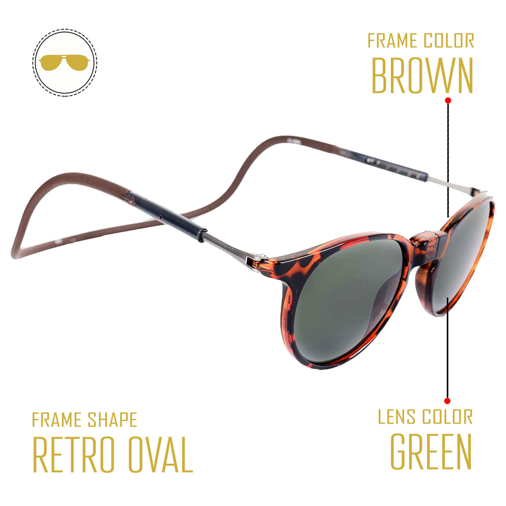 Retro Tortoise Brown Frame - Blue Lens - Hang in Neck Sunglasses  - Holi Offer - Grab it For Just Rs. 999 Only - iryzeyewear