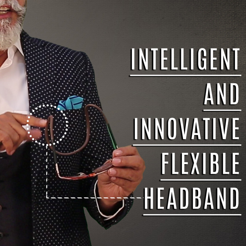 Brown Reading glasses with flexible head band - iryzeyewear