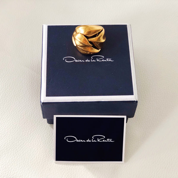 Oscar de la Renta Chunky Gold Cocktail Ring Size M 1/2