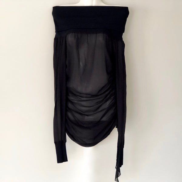 Dolce & Gabbana Black Sheer OTS Ruffle Top Size 42 / UK 10