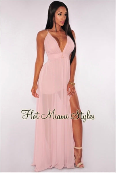 Hot Miami Styles - Citrus Criss Cross Back High Front Slit Maxi Dress Size S - New