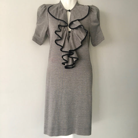 REVIEW Ruffle Front Grey Dress Size 8