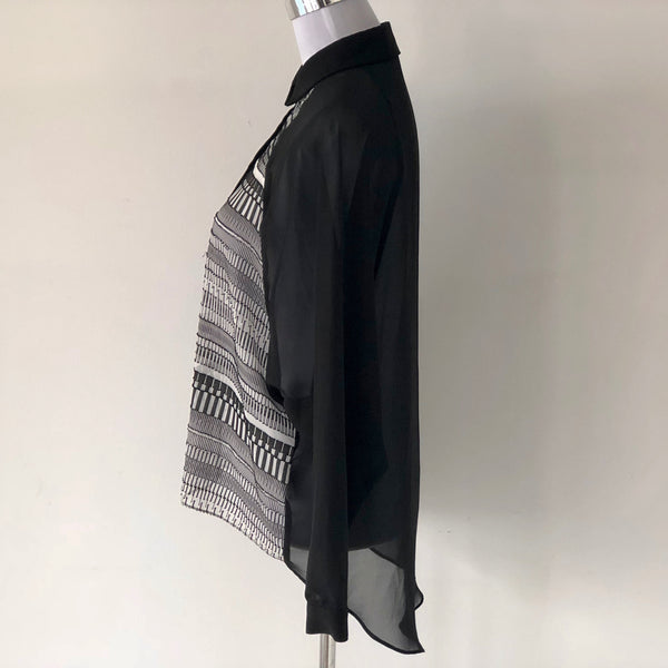 AKIN by Ginger & Smart Journal Shirt Black & White Size 8