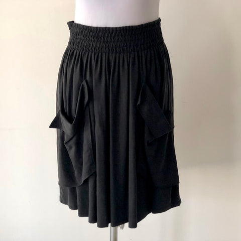 WITCHERY Shirred Waist Black Skirt XS