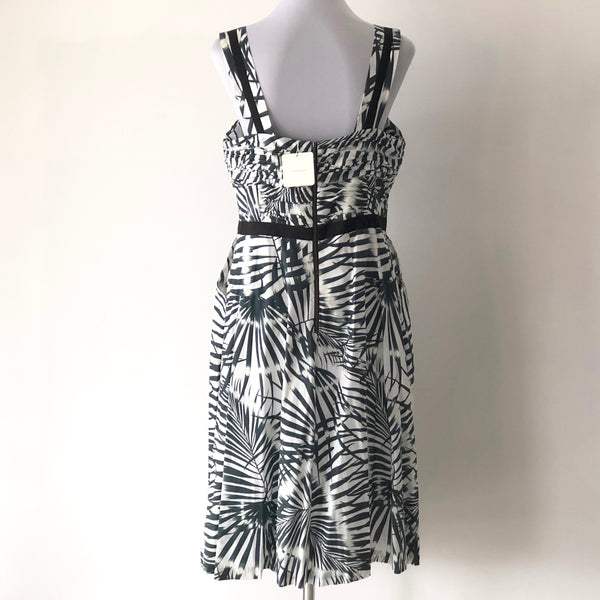 Veronika Maine Cotton Leaf Print Dress Size 14 - Brand New with Tags
