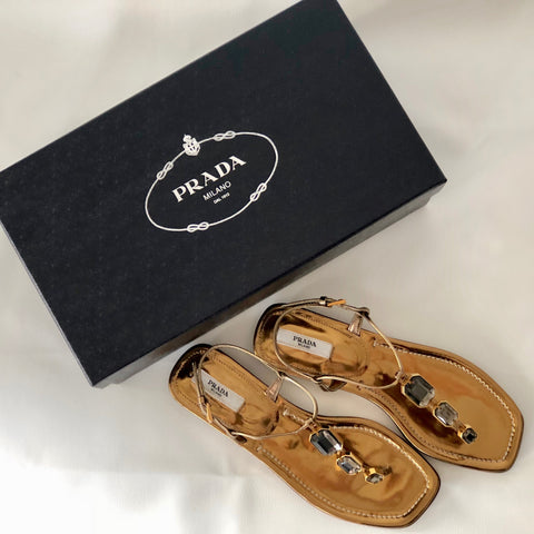 PRADA Women's Metallic Bronze Leather Jewelled Thong Sandals Size 36.5 - Brand New