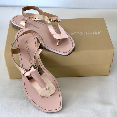 Sergio Rossi Rose Gold Sandals Size 37 - Brand New