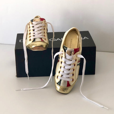 Dolce & Gabbana Gold Piping Street Sneaker  Size 36