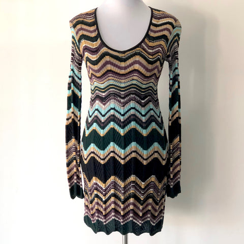 M Missoni Crochet Knit Long Sleeve Dress Size UK10