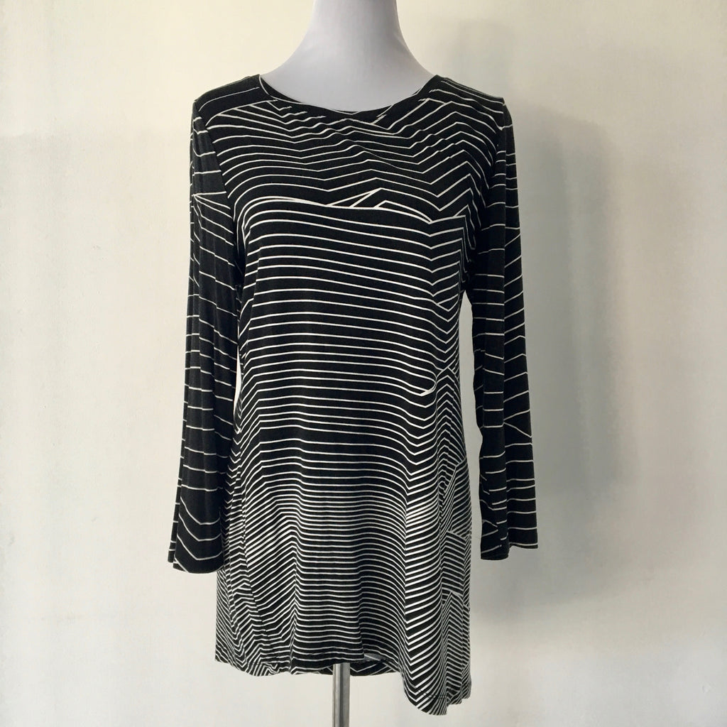 Blue Illusion Long Sleeve Stripe Top Size L