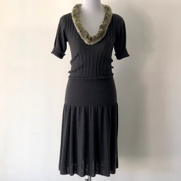 Roberto Cavalli Fur Collar Wool Dress Size UK/ Aus  12