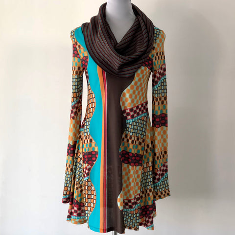 M Missoni Multicolour Cowl Neck Sweater Dress Size UK 8