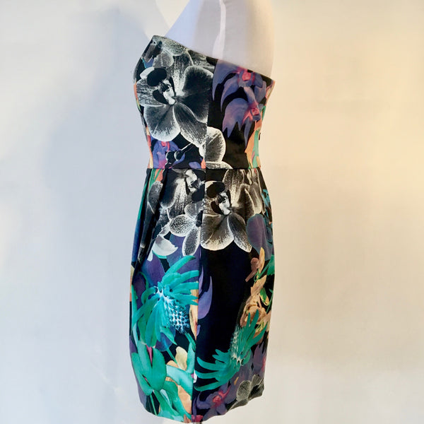 Portmans Floral Strapless Dress Size 8
