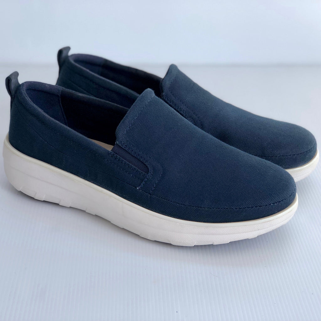 FitFlop SUPERSKATE™ CANVAS Loafers MIDNIGHT NAVY UK 5/ US 7 - Brand New