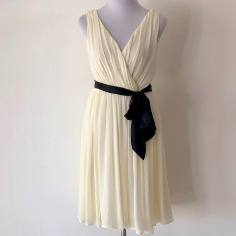Sheike Cream Dress with Black Belt Size 8
