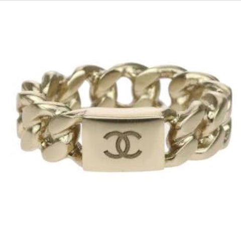 Chanel 15P GOLD CHAIN CC LOGO RING Size E