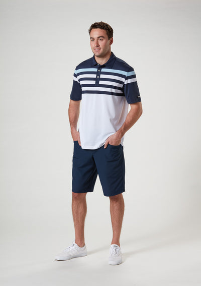 Front View of VUGA - Baxter Stripe Polo - Navy Blazer / Blue Sky / White