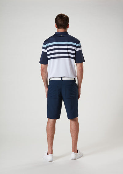 Back View 2 of VUGA - Baxter Stripe Polo - Navy Blazer / Blue Sky / White