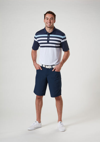 Front View 2 of VUGA - Baxter Stripe Polo - Navy Blazer / Blue Sky / White