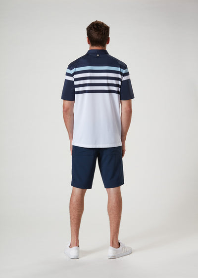Back View of VUGA - Baxter Stripe Polo - Navy Blazer / Blue Sky / White