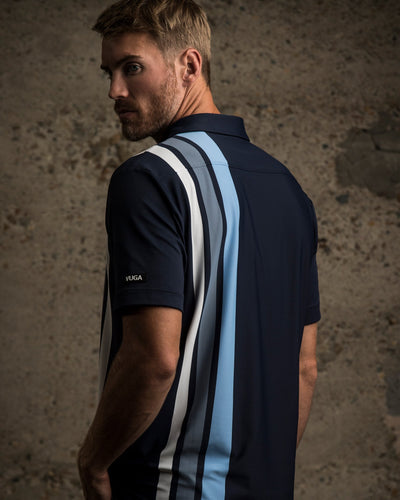 Graham Vertical Stripe Polo - Navy Blazer