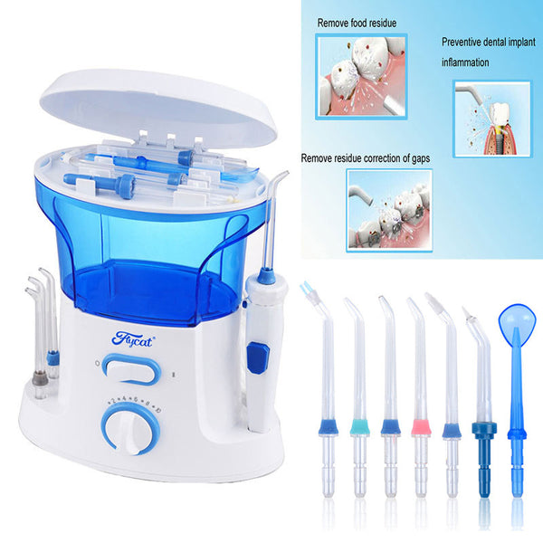 New Dental Floss Water Oral Flosser Home Pack Dental Irrigator Oral Teeth Cleaning Water 7 Pcs Tips, 600ml Water Tank Free ship
