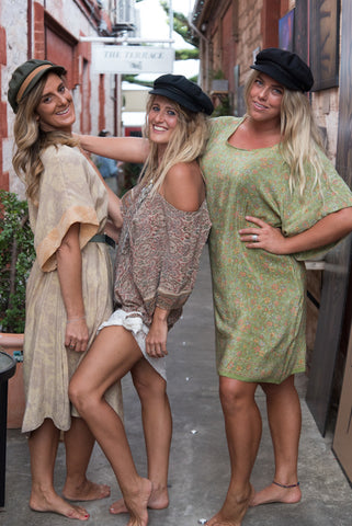 Talea, Fleur, Jasmin each wearing a Silk Bohème Dress