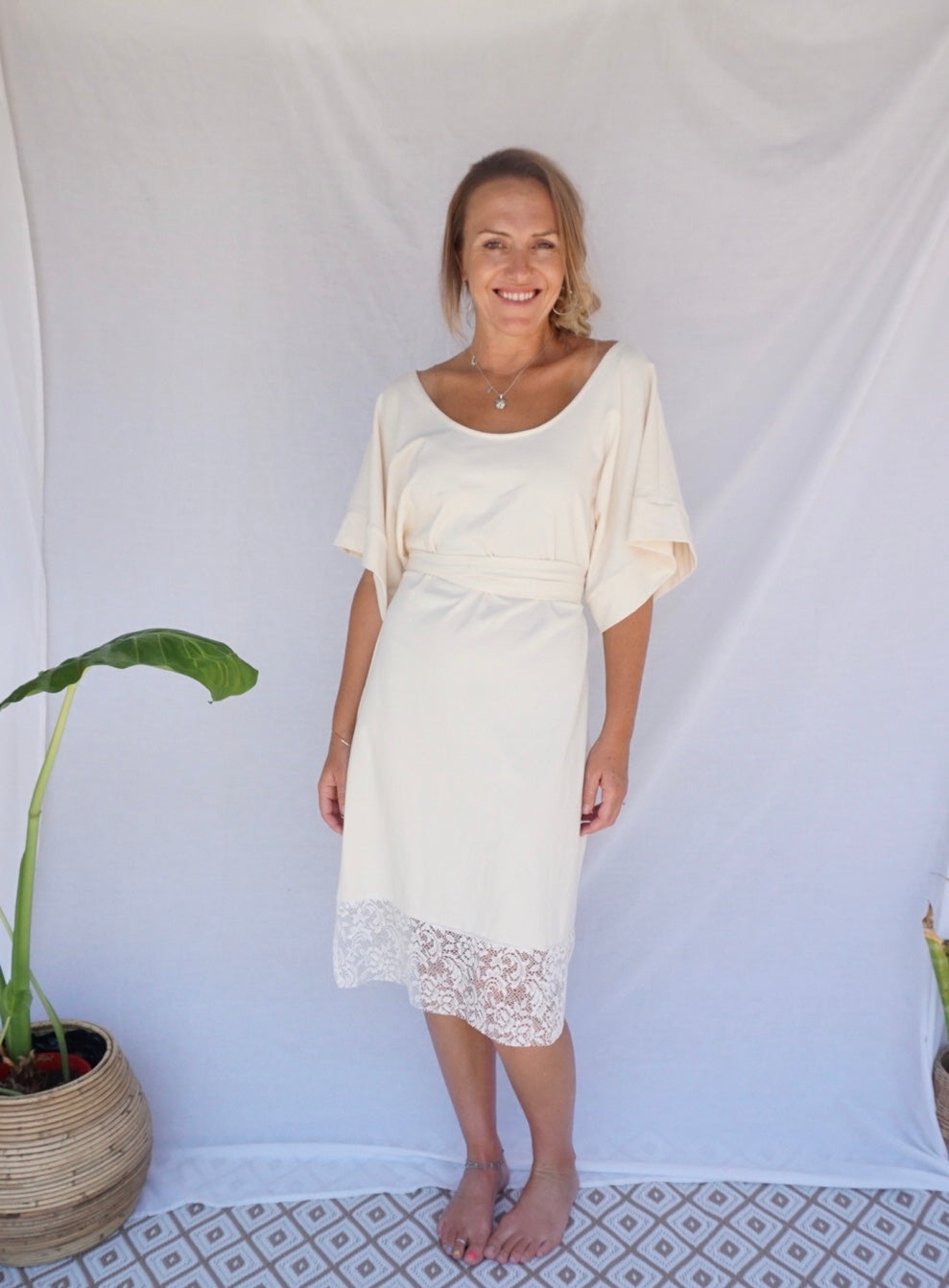 bohème basics  |  cream hemp/cotton dress
