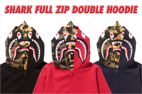 b13489195131 SHARK FULL ZIP DOUBLE HOODIE