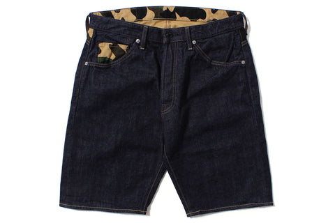 1ST CAMO DENIM SHORTS