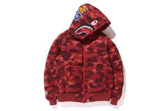 COLOR CAMO SHARK HOODIE DOWN JACKET