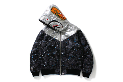 SPACE CAMO SHARK HOODIE DOWN JACKET