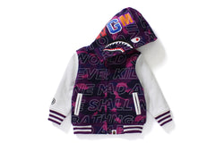 TEXT COLOR CAMO SHARK SWEAT VARSITY JACKET