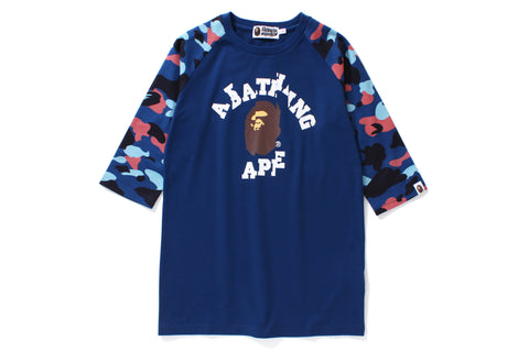 COLOR CAMO RAGLAN 3/4 SLEEVE TEE