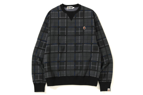 RELAXED BAPE LOGO CHECK CREWNECK