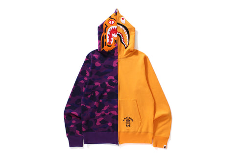 COLOR CAMO TIGER SHARK HALF FULL ZIP HOODIE