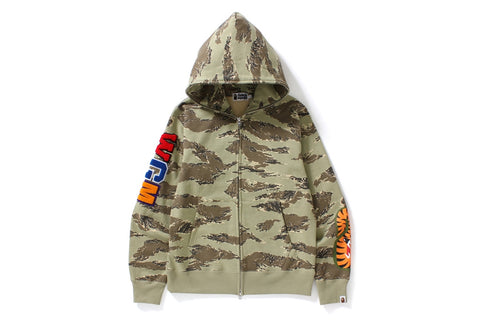 TIGER CAMO EMBROIDERY SHARK FULL ZIP HOODIE